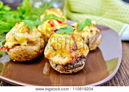 Champignons Stuffed Meat With Parsley In Brown Plate On Board