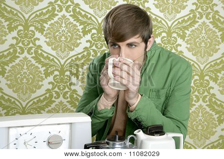 Geek Retro Man Drinking Tea
