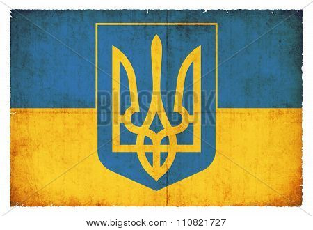 Grunge Flag Of Ukraine With Coat Of Arms