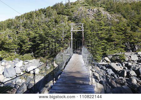 Suspension bridge in Torres del Paine National Park, Patagonia, Chile