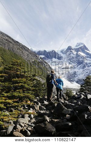 Tourists hiking in the Torres del Paine National Park