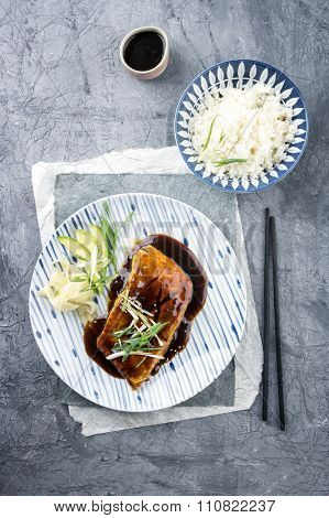 Salmon Teriyaki with Vegetable and Ginger