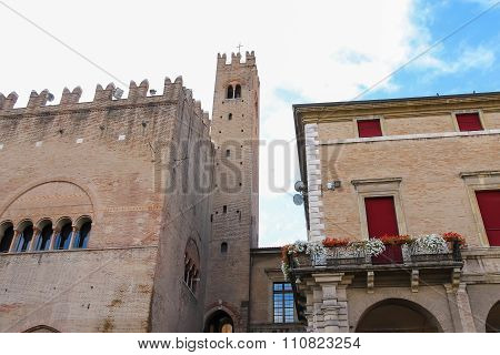 Ancient Building With Tower Near Rimini City Hall On Cavour Square In Rimini, Italy
