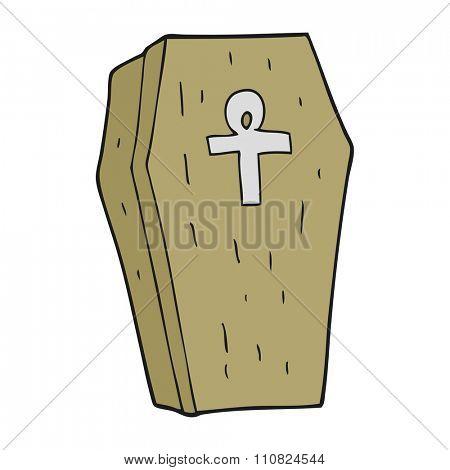freehand drawn cartoon spooky coffin