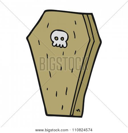 freehand drawn cartoon halloween coffin