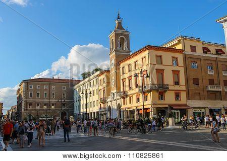 Tourists Walking On Tre Martiri Square (piazza Tre Martiri) In The Centre Of Rimini, Italy