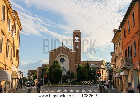 View To San Gaudenzio Church  (parrocchia S. Gaudenzo) In The Historic Centre Of Rimini