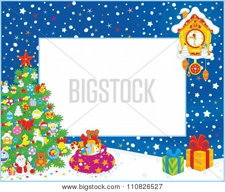 Border with Christmas tree and gifts