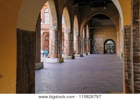 Arch Gallery In Ancient Building On Cavour Square In Rimini, Italy