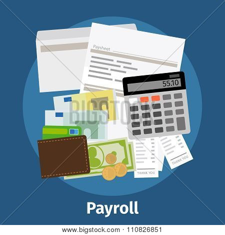 Invoice sheet, paysheet or payroll icon