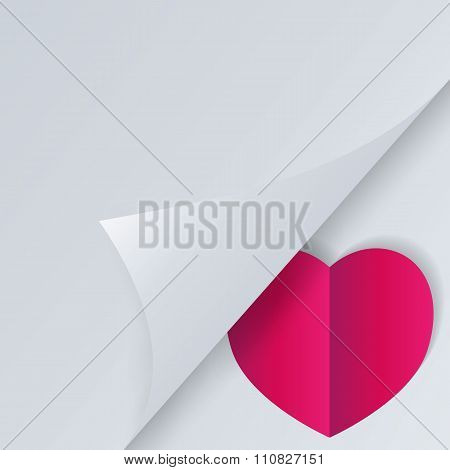 Background with half opened page and heart