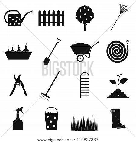 16 garden plain icons set