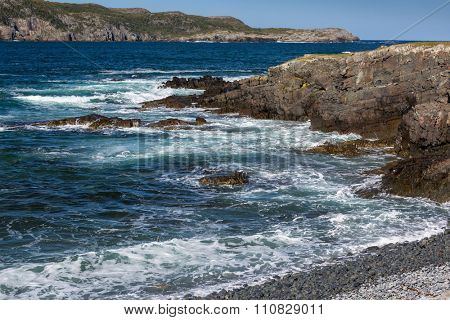 Wild rocky beach at Elliston on the Bonaventure peninsula on the island of Newfoundland, Canada.