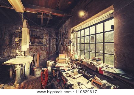 Vintage Stylized Old Carpenter Workshop Interior