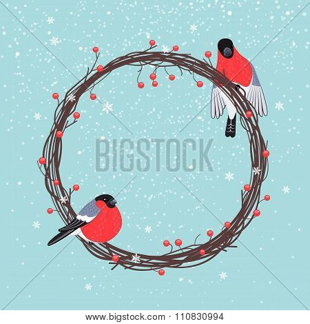 Christmas Wreath With Bullfinches