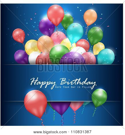Colorful balloons Happy Birthday on blue background