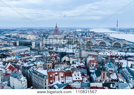 General Winter-time View Of Riga From Above, Latvia