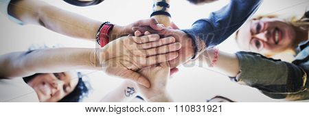 Team Hands Together Teamwork Participation People Concept