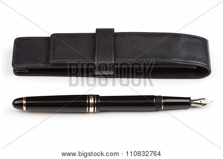 Fountain Pen And Leather Case