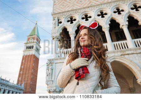 Young Woman Tourist Spending Christmas Holidays In Venice, Italy