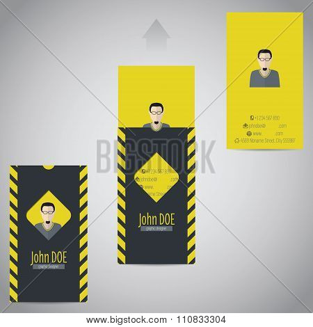 Simplistic Flat Business Card With Photo And Data