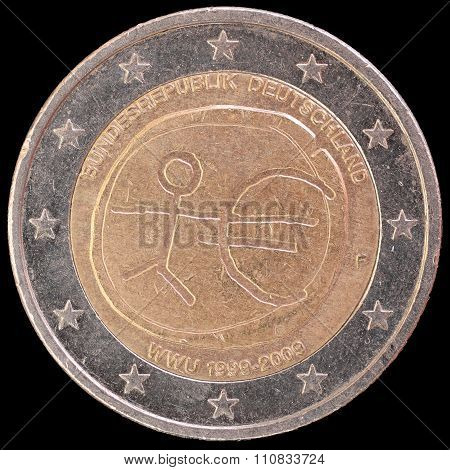 Commemorative Two Euro Coin Issued By Germany In 2009 For The Anniversary Of Economic And Monetary U