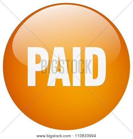 Paid Orange Round Gel Isolated Push Button