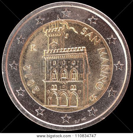 National Side Of San Marino Two Euro Coin On Black Background