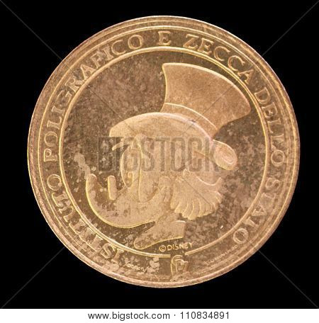 Walt Disney Coin Depicting The Portrait Of Uncle Scrooge Mcduck