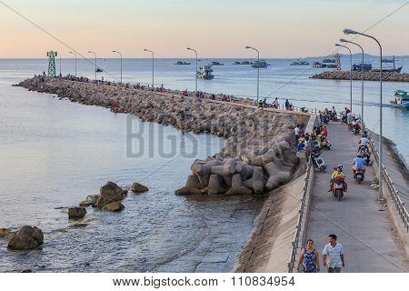 Evening on a pier in Vietnam