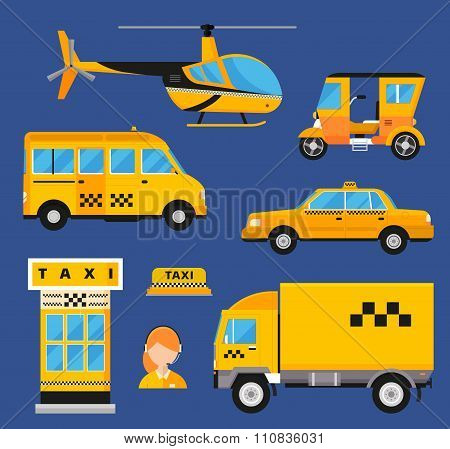 Different types of taxi transport. Cars, helicopter, van truck, bike and motorcycle