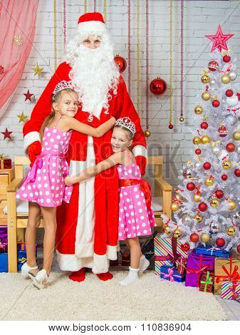 Children Hugging Grandfather Frost From Christmas Trees