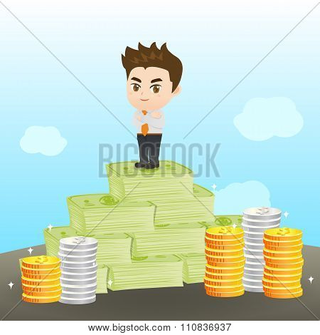 Cartoon Illustration Businessman Wealthy