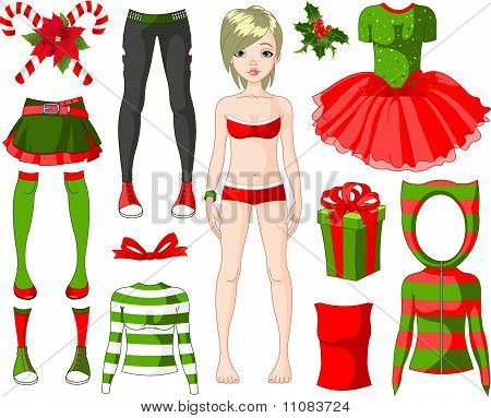 Girl With Christmas Dresses
