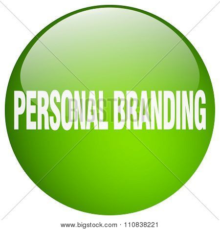 Personal Branding Green Round Gel Isolated Push Button