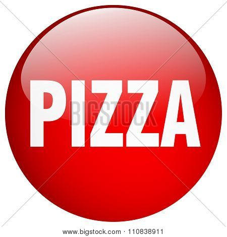 Pizza Red Round Gel Isolated Push Button