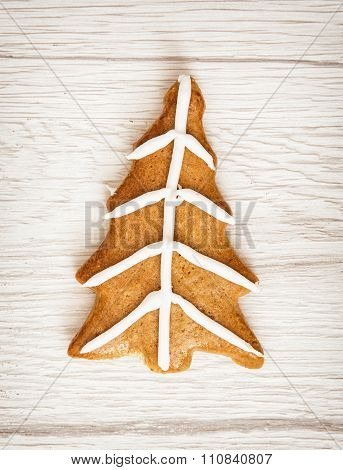 Christmas Tree Shaped Gingerbread Cookie, Merry Christmas, Wooden Background