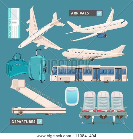 Airport info graphic set with business jet, passenger bus