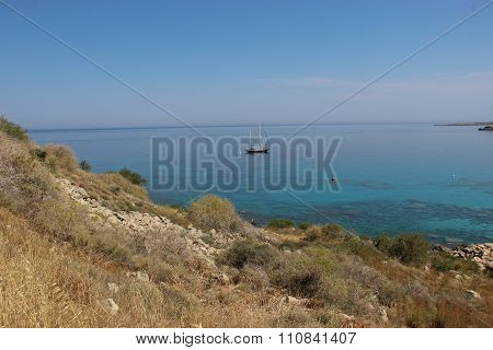 Boat Near The Shores Of The Mediterranean.