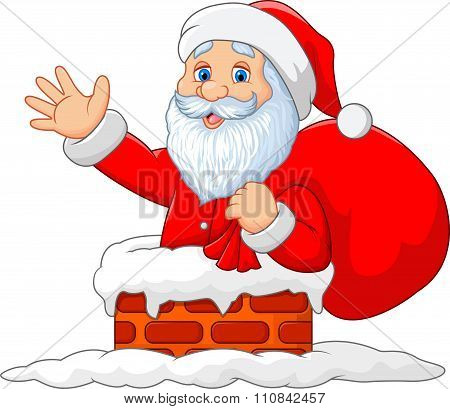 Happy Santa Claus with sack in the chimney