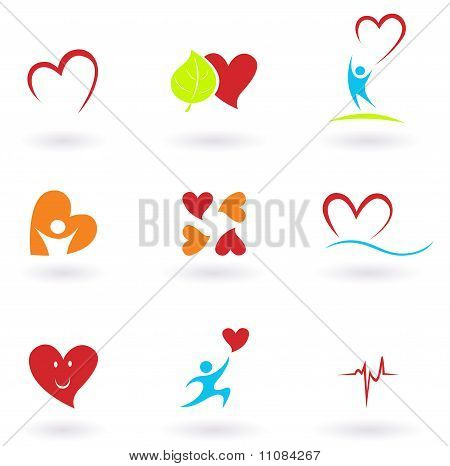 Cardiology, heart and people icons collection
