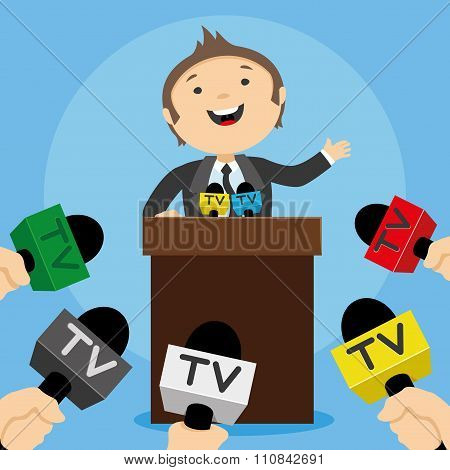 Business man gives a press conference