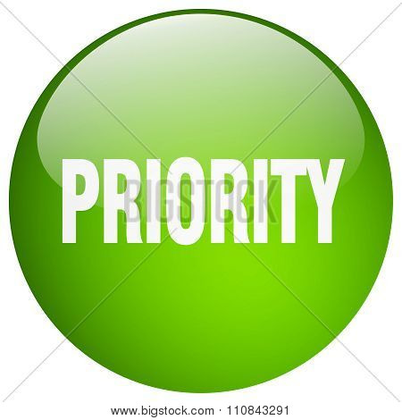 Priority Green Round Gel Isolated Push Button