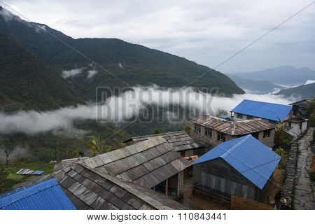 View Of Village In Trekking Route, Pokhara, Nepal