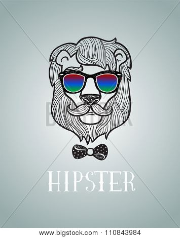 Hipster lion vector illustration, all elements separated.