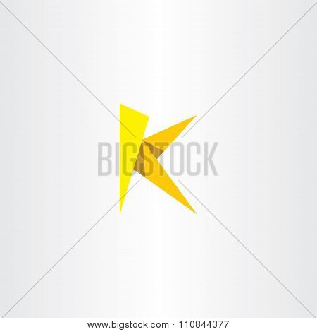 Yellow Paper Letter K Triangle Logo