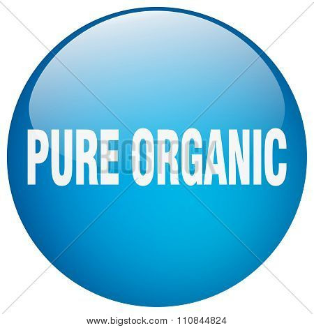 Pure Organic Blue Round Gel Isolated Push Button