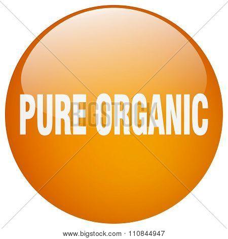 Pure Organic Orange Round Gel Isolated Push Button