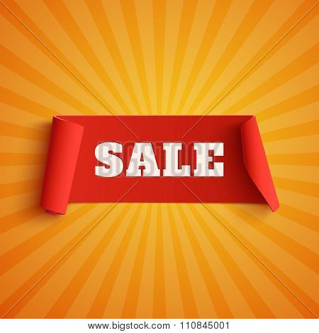 Sale, red banner on orange background.