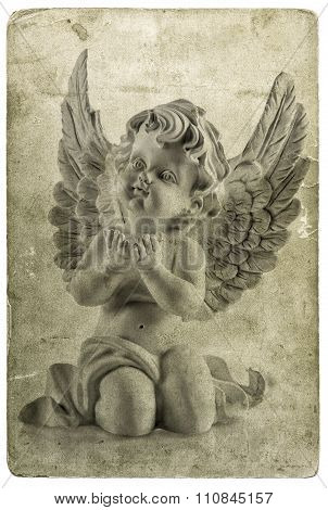 Little Guardian Angel. Old Paper Texture. Christmas Card